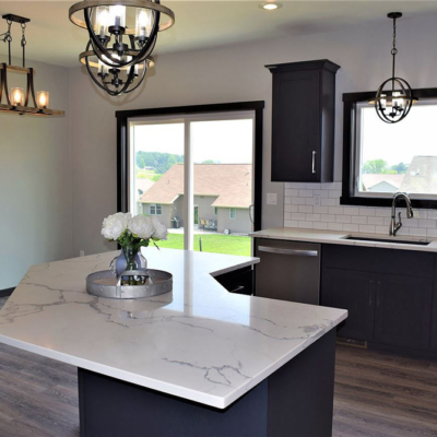1745 Steiner Lane open concept kitchen and bar, eat in dining room, and patio doors